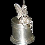 "FAIRY TRINKET BOX - Sterling Silver - Hinged Lid - 2"" Tall - Vintage!!"