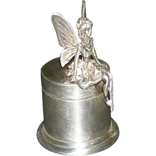 "FAIRY TRINKET BOX - Sterling Silver - Hinged Lid - 2"" Tall - Vintage!!"