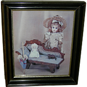 FRAMED OLD PICTURE - Steiner Doll w/ a Bye-Lo Baby & a Cat Sitting on a Couch - Parasol