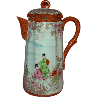"ASIAN - JAPANESE TEAPOT - 9"" Tall - Lovely Japanese Women in Kimono - Mountains & Flowers!! - Vintage!!"