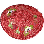 RED STRAW DOLL HAT - Vintage - Real Jazzy!! - Medium Size w/ Red Velvet Flowers & Fruit & Ribbon!!