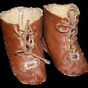 """BROWN OILCLOTH SHOES - Vintage - Laces & Toe Ornaments - 2 1/2"""" Long"""