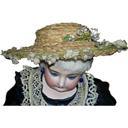 VERY, OLD, ANTIQUE, STRAW HAT - Fabric Flowers w/ Stems All Around The Brim - Extra Spray Of Flowers