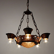 Delightful Antique Five-Light Art Deco Slip Shade Chandelier, Lincoln, Fleur-De-Lis