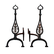 Pair of Hand-Forged Iron Andirons by Kowes, Early 1900s
