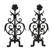 Pair of Hand-Forged Iron Andirons, Early 1900s