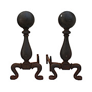 Pair of Antique Iron Andirons, Late 19th Century