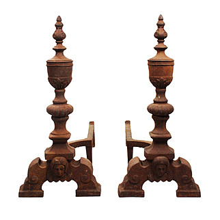 Pair of Figural Cast Iron Andirons, Early 1900s