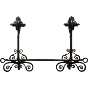 Pair of Hand-Forged Iron Andirons, Late 19th Century