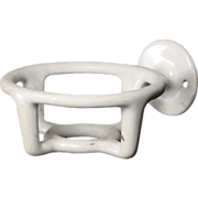 Antique White Porcelain Cup Holder for the Bathroom, Early 1900's