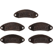Playful Antique Eastlake Bin Pulls with Stylized Foliate Design, c.1880s