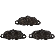 Antique Eastlake Bin Pulls with Stylized Floral Design