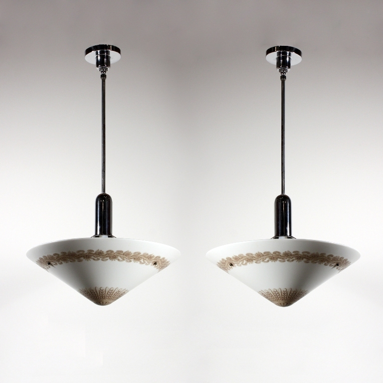 Two Matching Antique Large Pendant Lights with Original Conical Shades, Early 1900s
