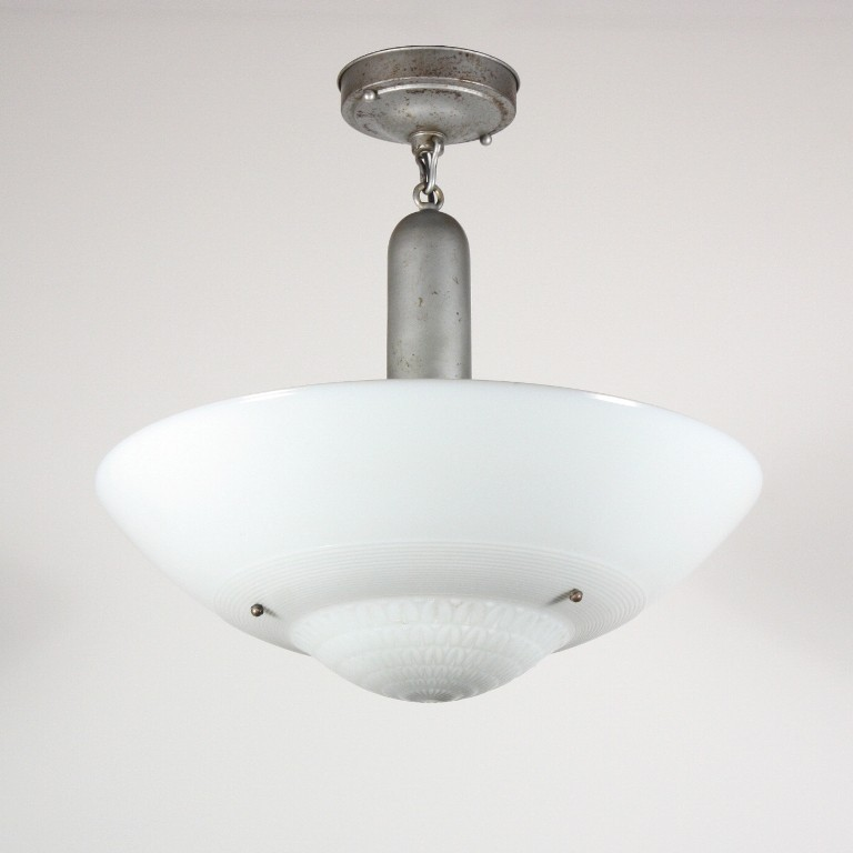 Stunning Antique Semi Flush Mount Fixture with Original Opaline Glass Shade, Early 1900s