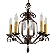 Marvelous Antique Five-Light Wrought Iron Chandelier with Prisms, Early 1900s