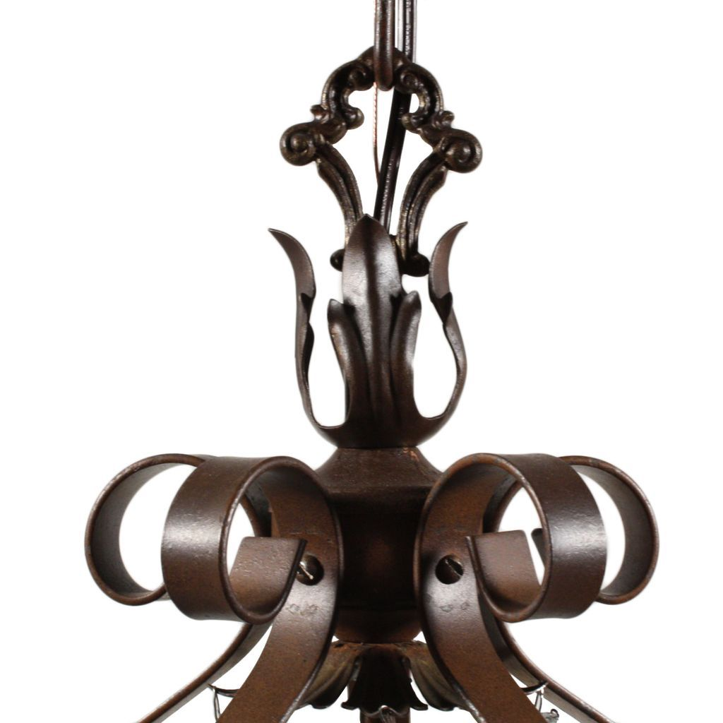 Marvelous Antique Five Light Wrought Iron Chandelier With