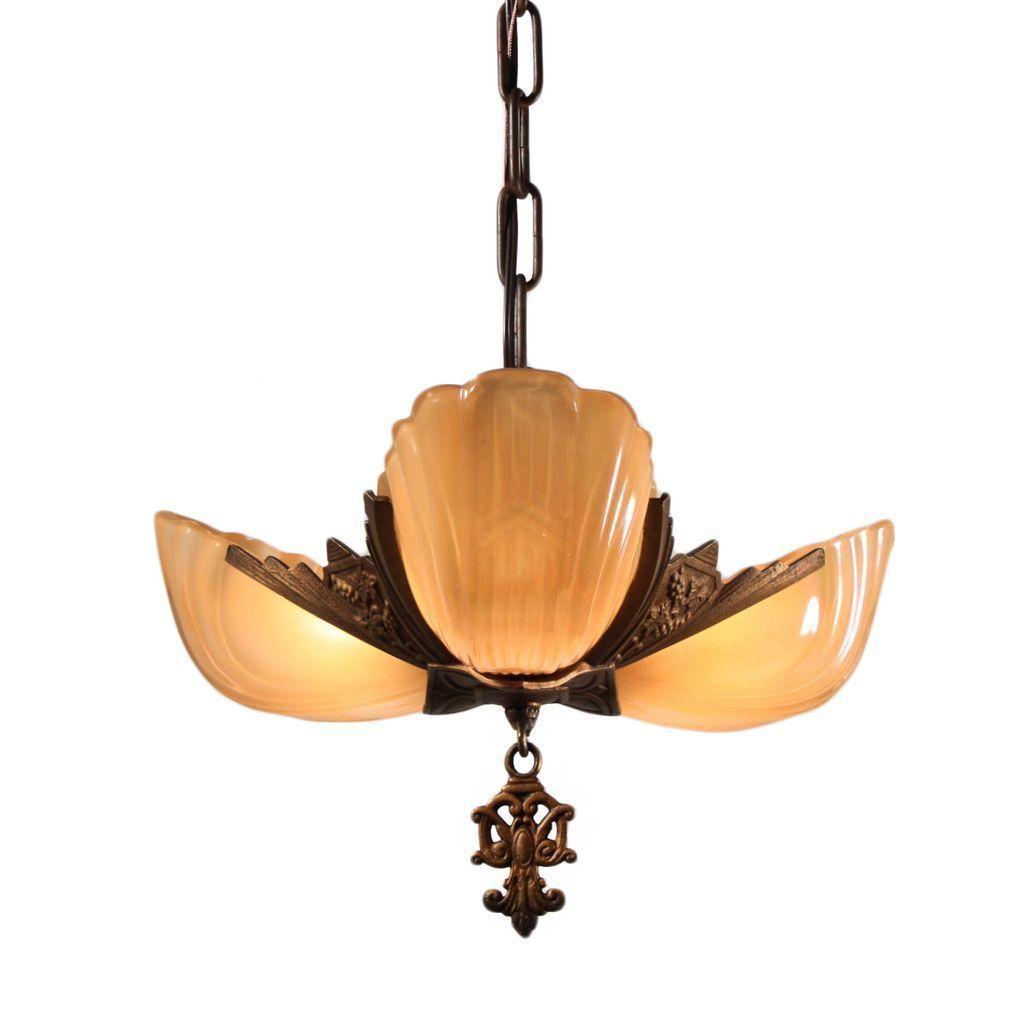 Marvelous Antique Art Deco Three Light Slip Shade Chandelier