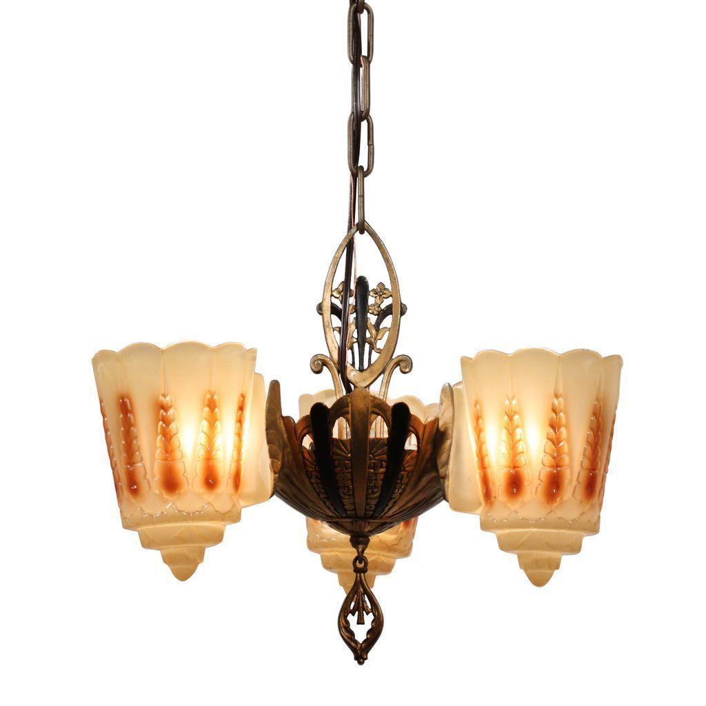 Amazing Antique Three-Light Art Deco Slip Shade Chandelier