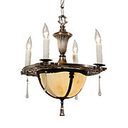 Exquisite Antique Five-Light Chandelier with Original Shade, Silver Plate over Pewter