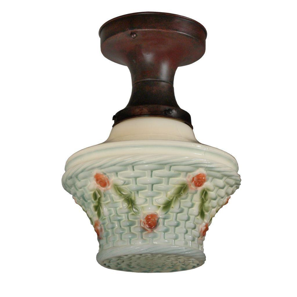 Lovely Antique Flush Mount Light Fixture with Painted Glass Shade