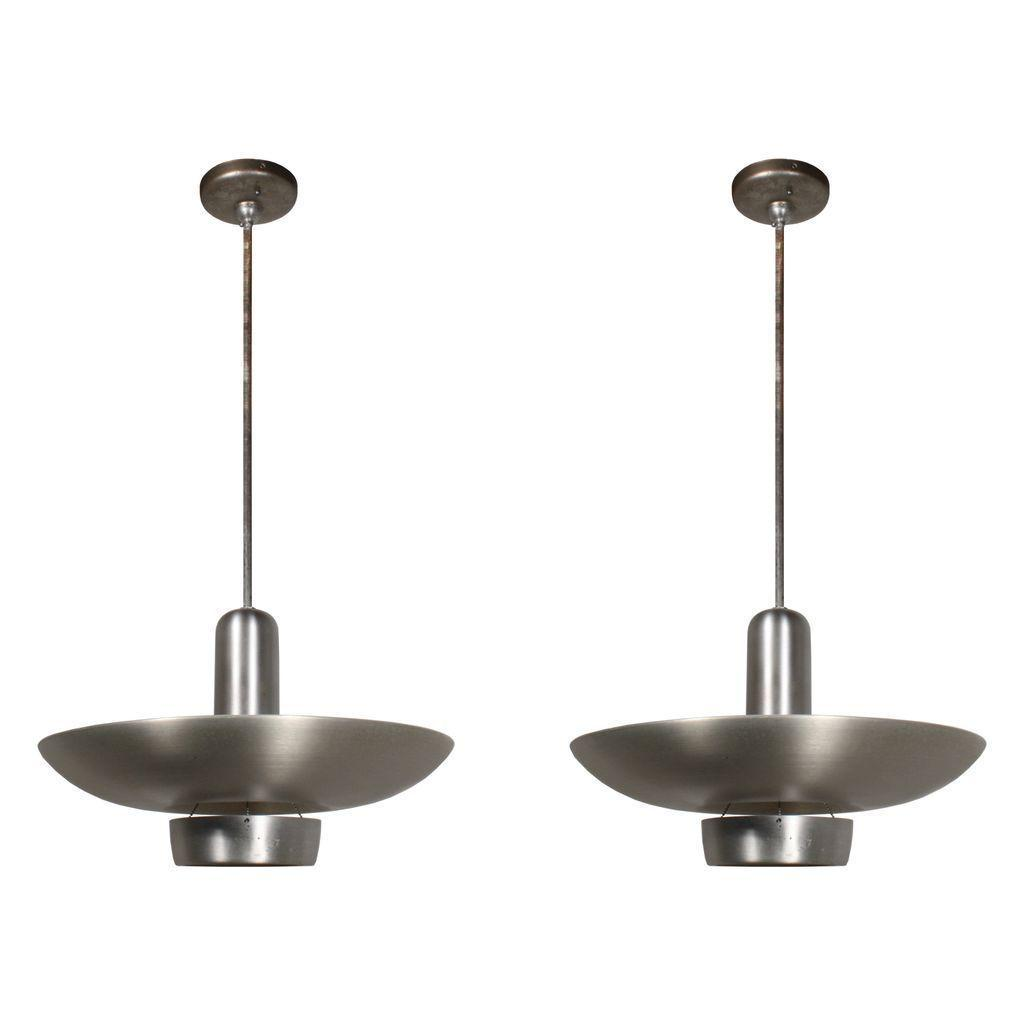 Two Matching Antique Industrial Aluminum Pendant Lights, c.1930