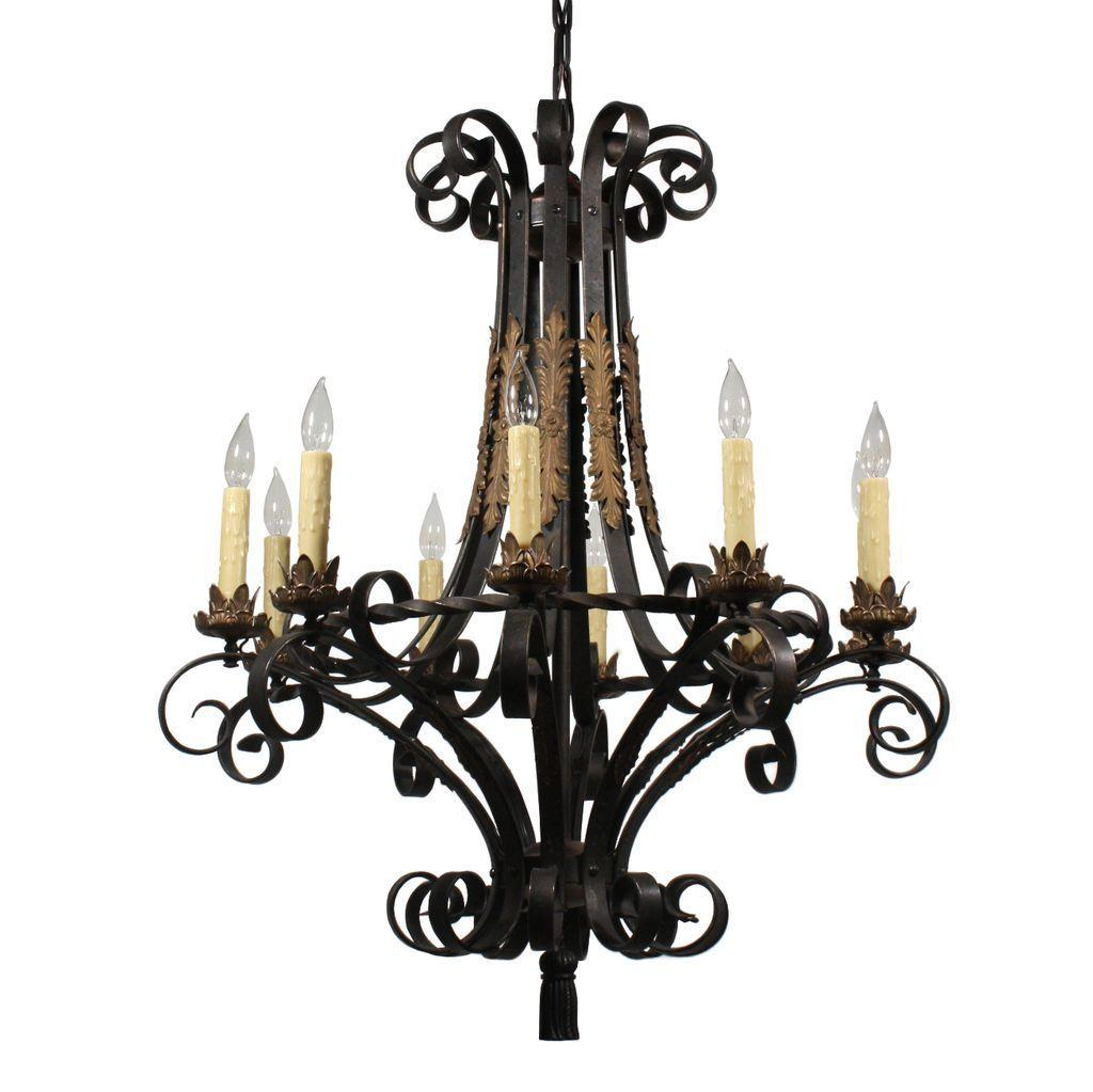 Substantial Antique Ten-Light Two-Tone Iron and Brass Chandelier