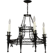 Fabulous Antique Wrought Iron Chandelier from France