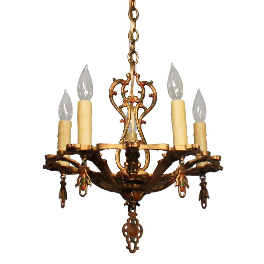 Wonderful Antique Chandelier with Original Polychrome Finish, Early 1900s