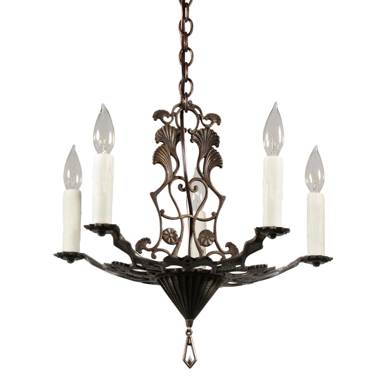 Fabulous Antique Art Deco Chandelier with Gingko Leaves, c.1930