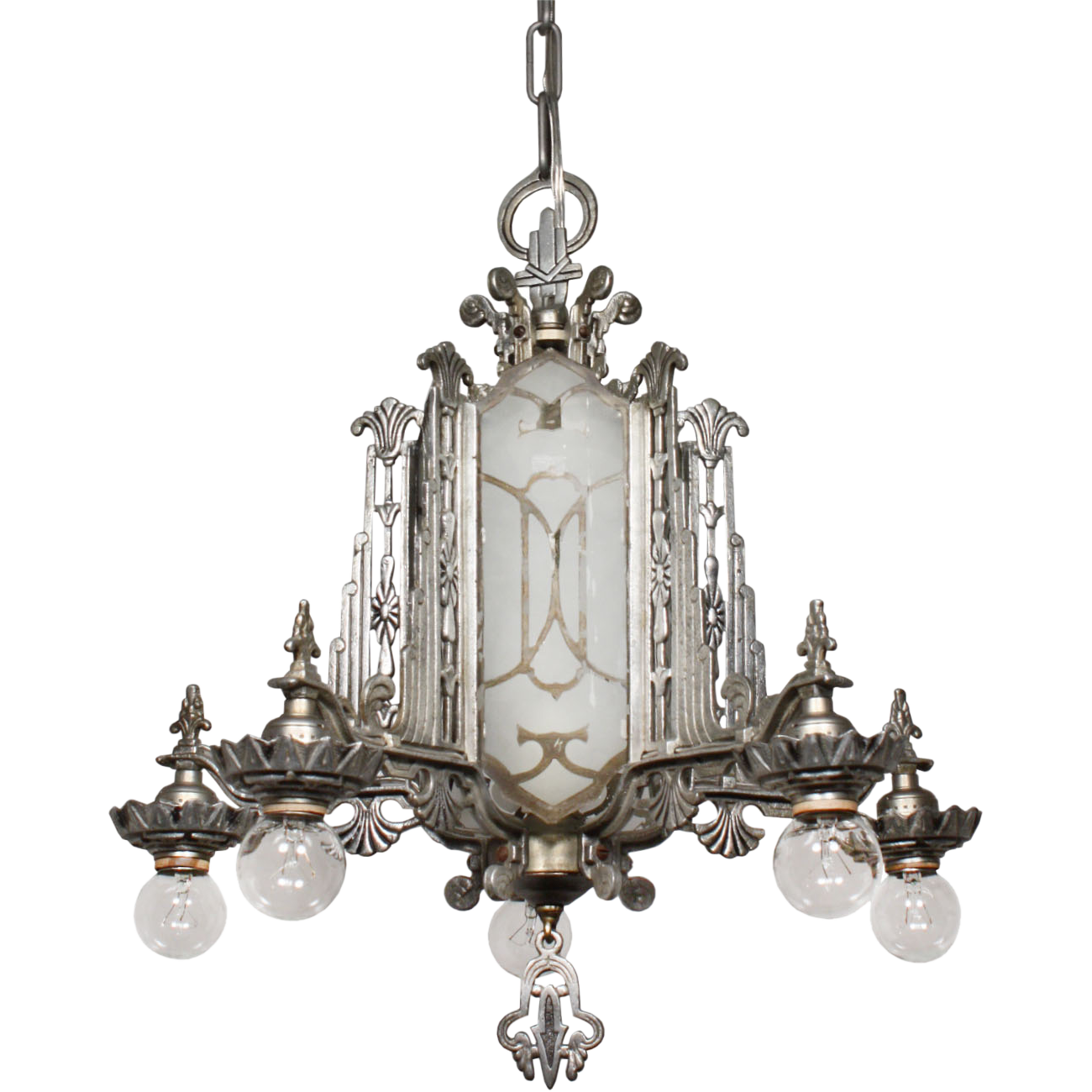 Magnificent Antique Art Deco Chandelier Mirrored And