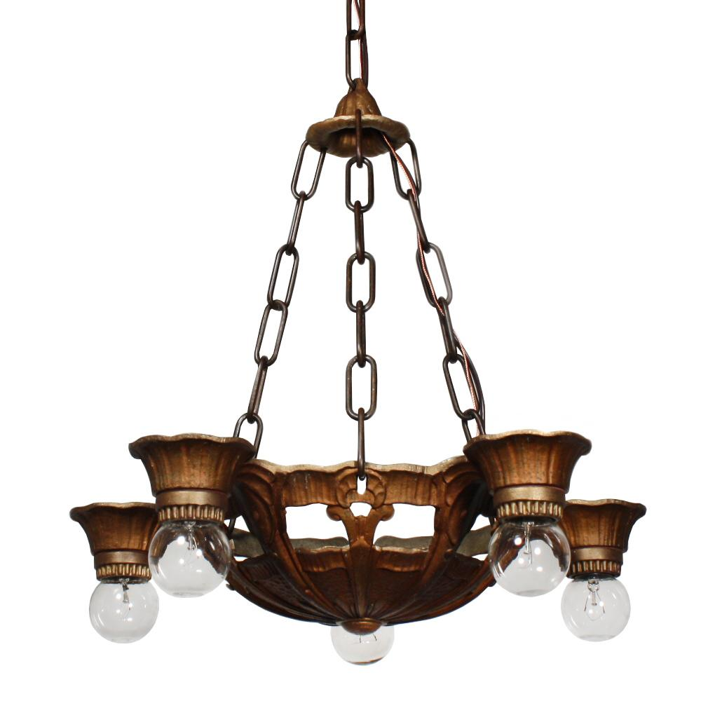 Splendid Antique Art Deco Five-Light Chandelier by Lincoln, c.1930