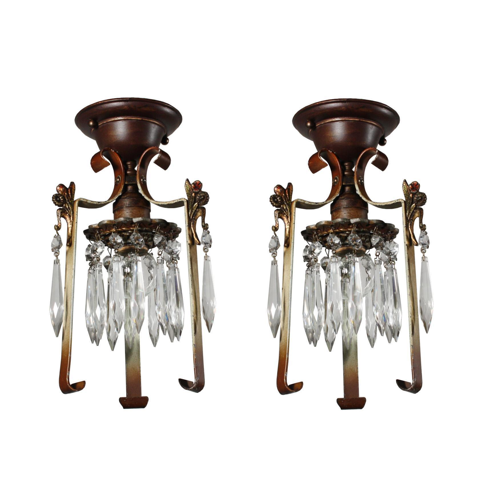 Lovely Antique One-Light Flush Mount Fixtures with Prisms, Early 1900's