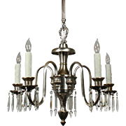 Elegant Antique Adam Style Silver Plate Chandelier with Prisms