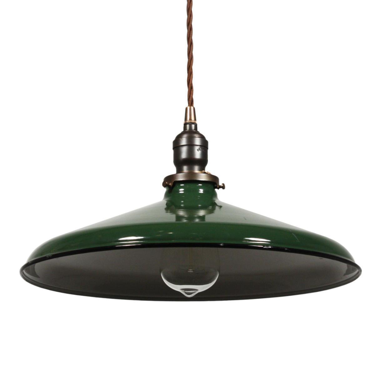 Found In Ithaca Vintage Green Enamel Shop Light: Antique Industrial Pendant Light, Green Enamel & Porcelain