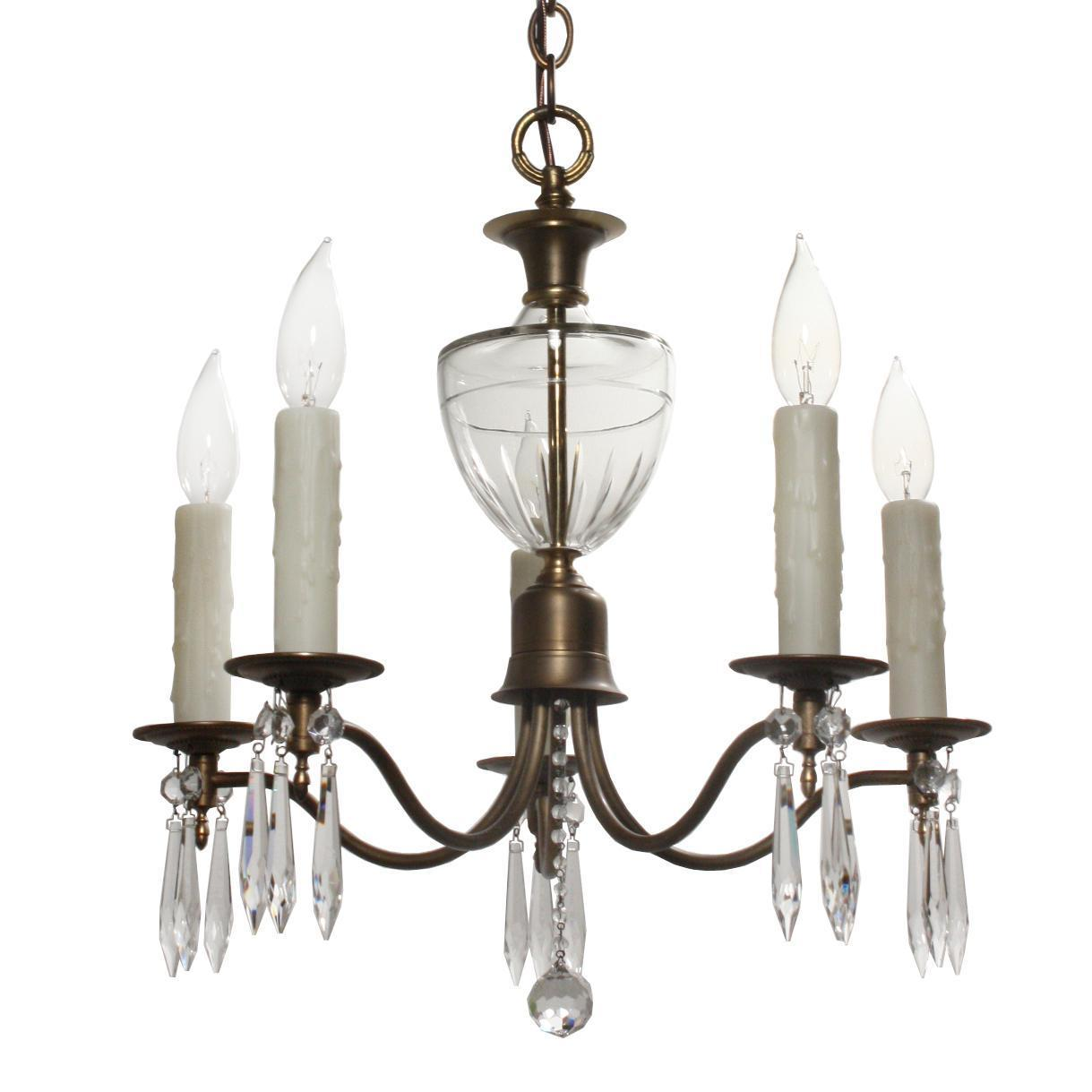 Beautiful Antique Brass and Glass Chandelier with Prisms, c.1910