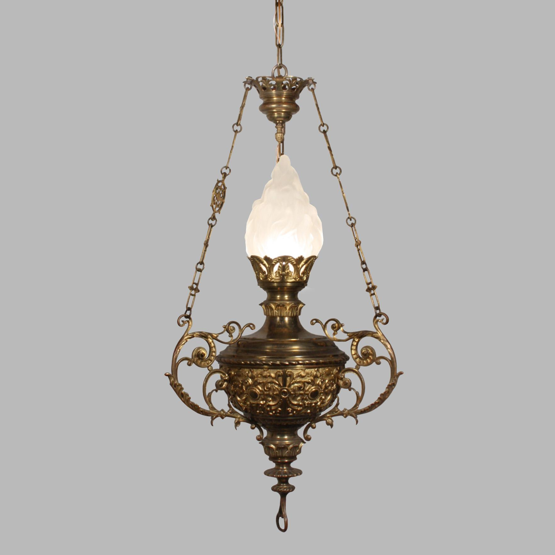 Incredible Antique Cast Bronze Chandelier Late 19th