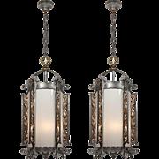 Substantial Antique Gothic Revival Lanterns, Iron & Brass, c. 1910