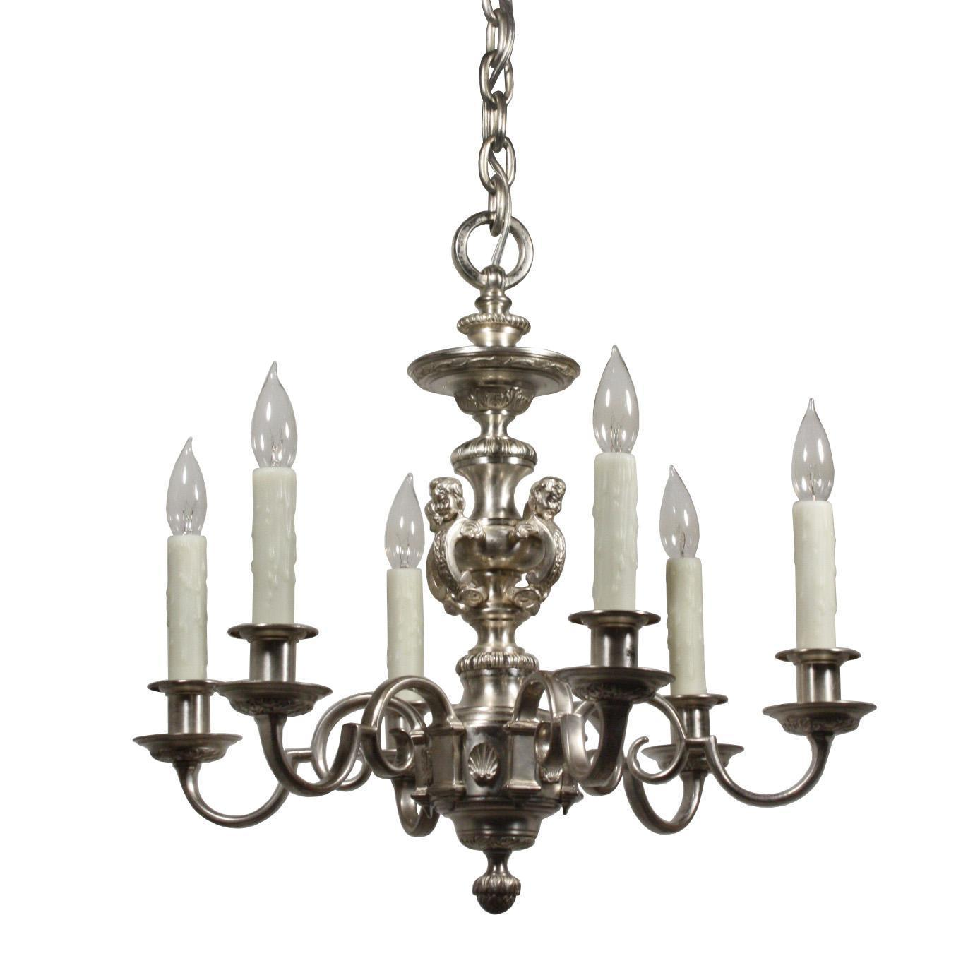 Incredible Antique Figural Silver-Plated Chandelier by E.F. Caldwell