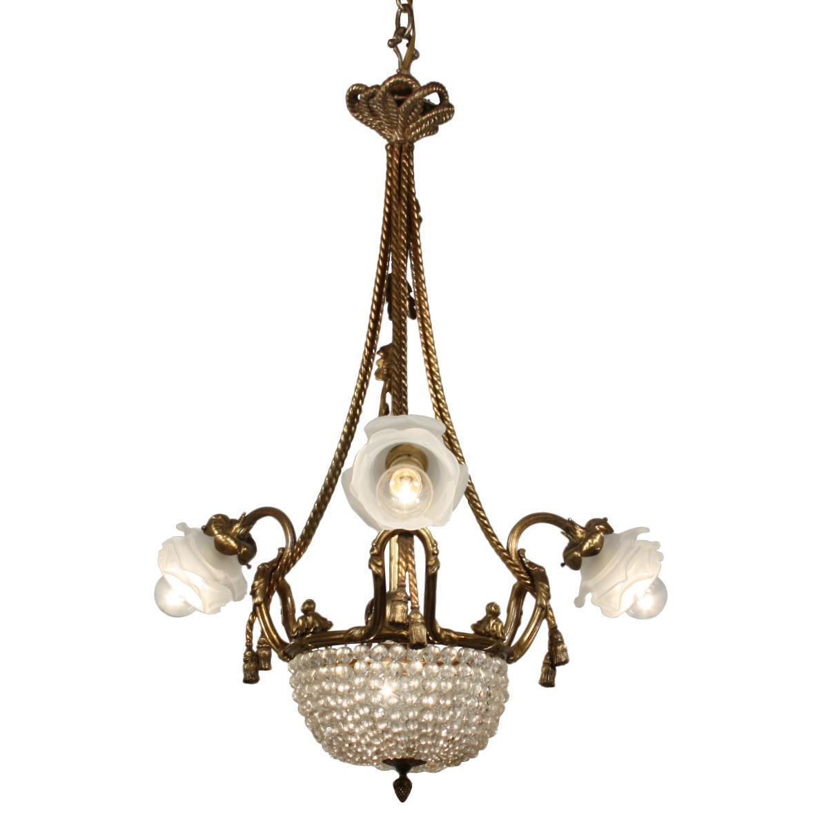 Fabulous Antique Gilded Bronze Chandelier with Prisms, From France