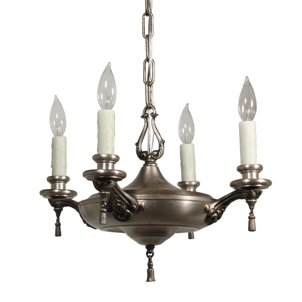 Marvelous Antique Neoclassical Silver Plated Chandelier, c. 1910