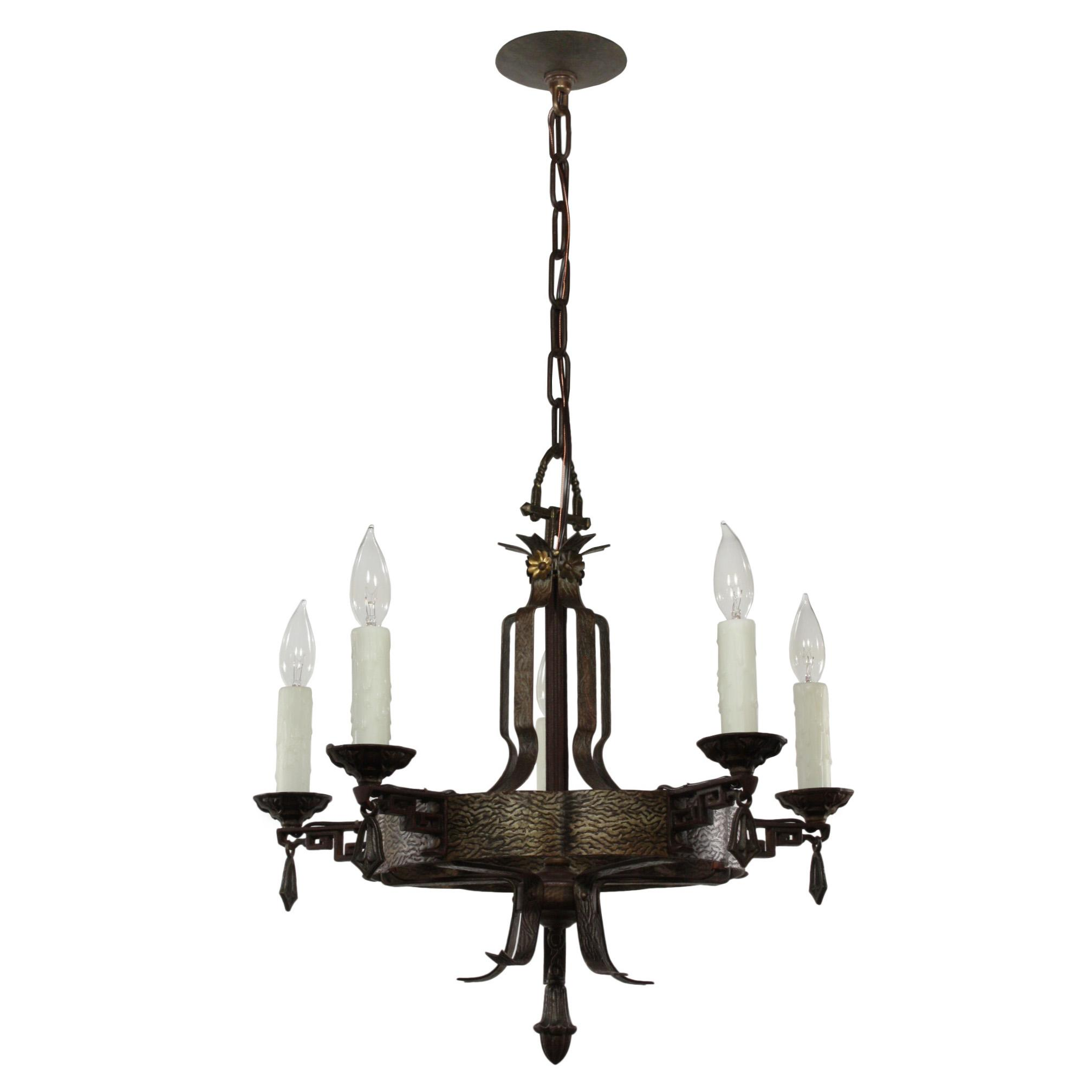 Unusual Antique Cast Iron Tudor Chandelier C 1920 from