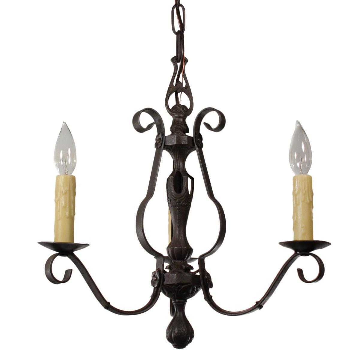 Charming Antique Iron Chandelier, c.1920s