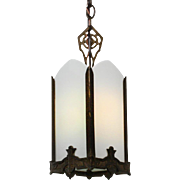 Superb Antique Spanish Revival Lantern with White Glass Panels