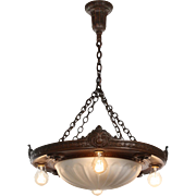 Elegant Antique Inverted Dome Chandelier with Opaline Glass Shade