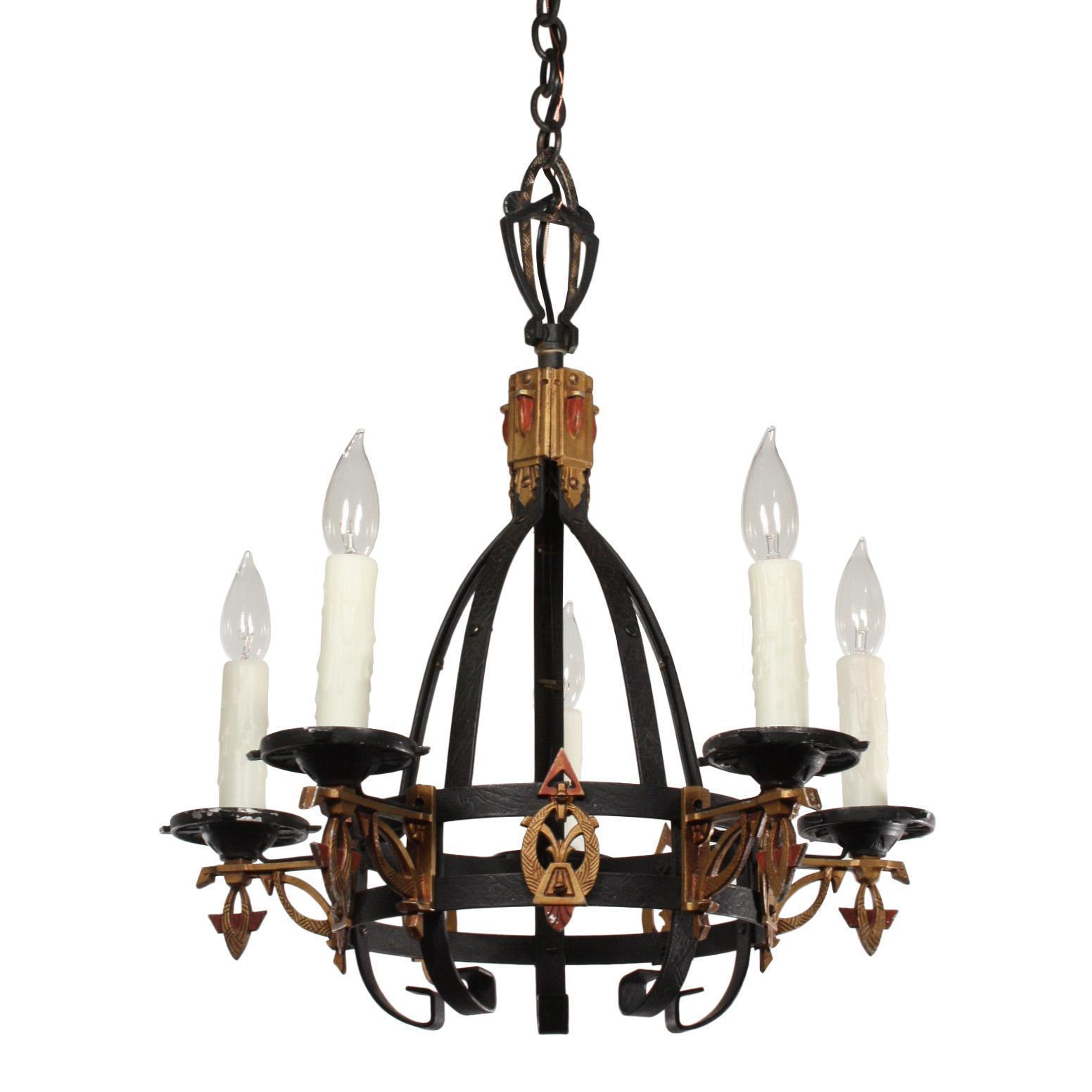 Striking Antique Art Deco Chandelier, Early 1900s