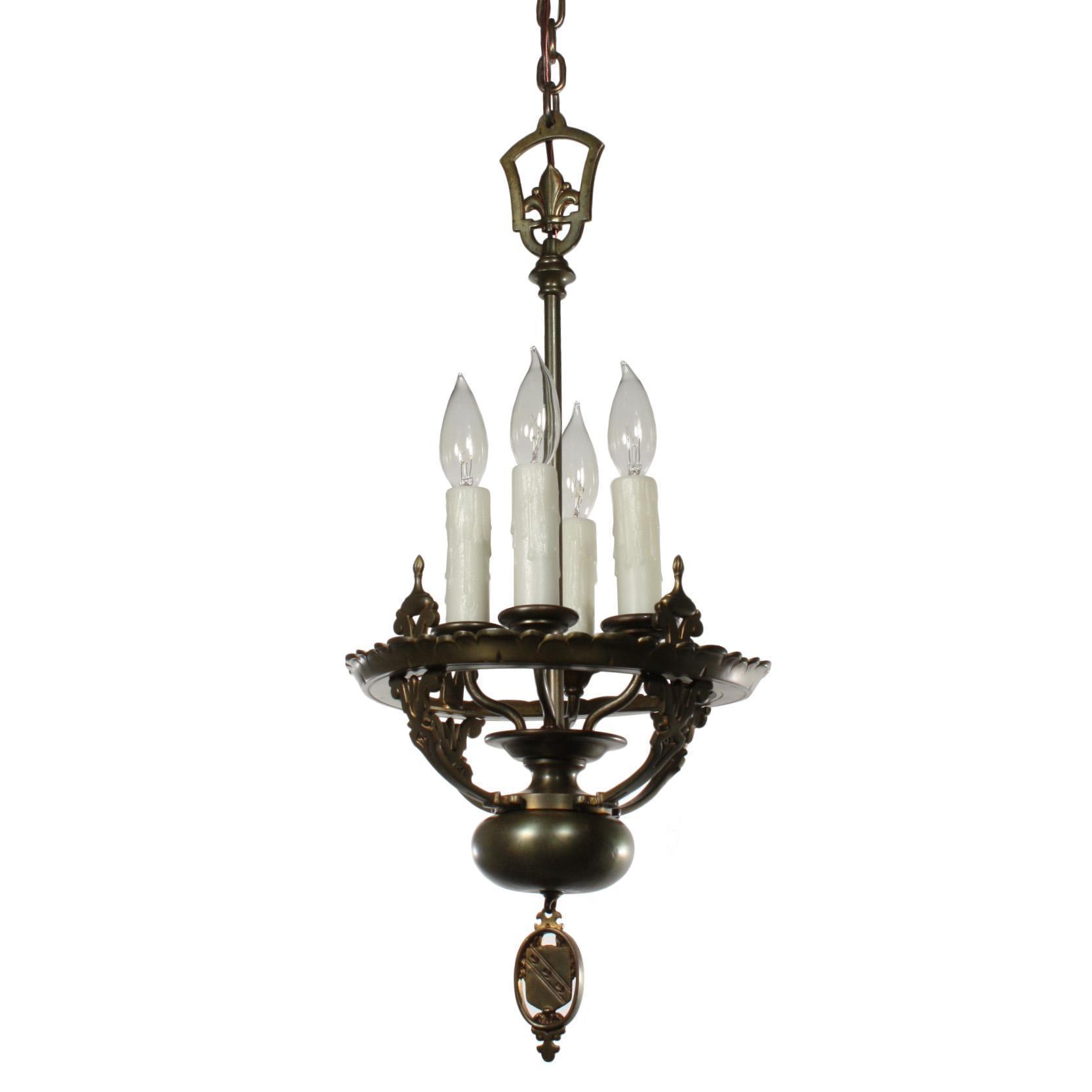 Gorgeous Antique Spanish Revival Pendant Light, Fleur-De-Lis