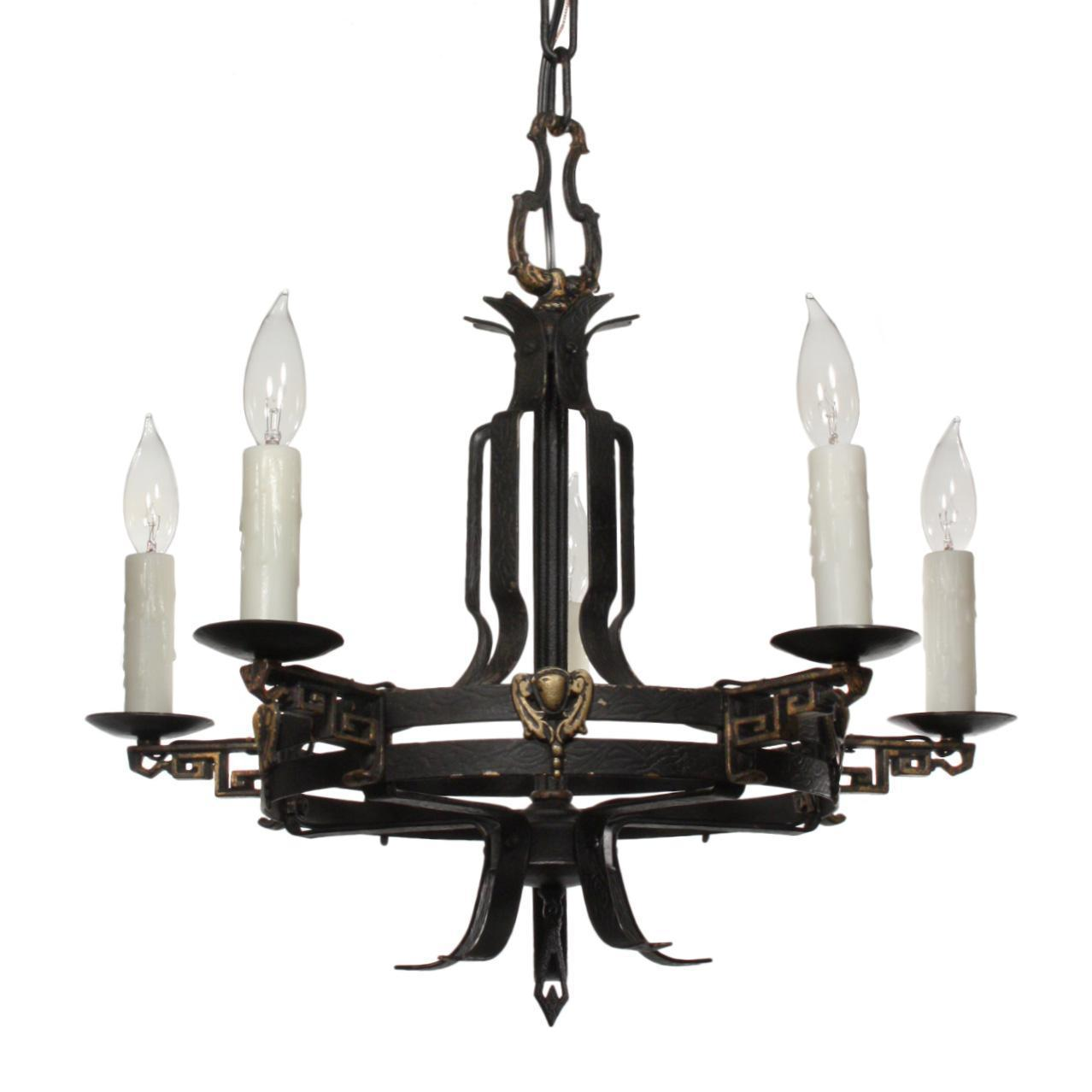 Handsome Antique Tudor Iron Chandelier, c.1920