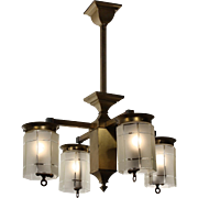 Striking Antique Brass Arts & Crafts Four-Light Gas Chandelier, Early 1900s
