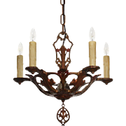 Lovely Antique Chandelier with Original Polychrome Finish, Early 1900s