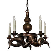 Striking Vintage Brass Ram Horn Chandelier by Chapman, c.1970